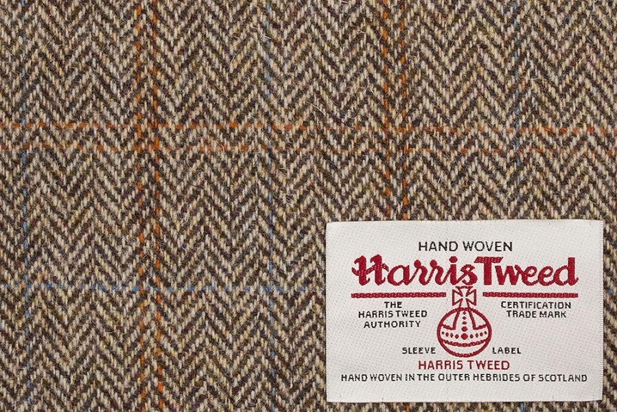 Camel Herringbone With Blue & Red Check